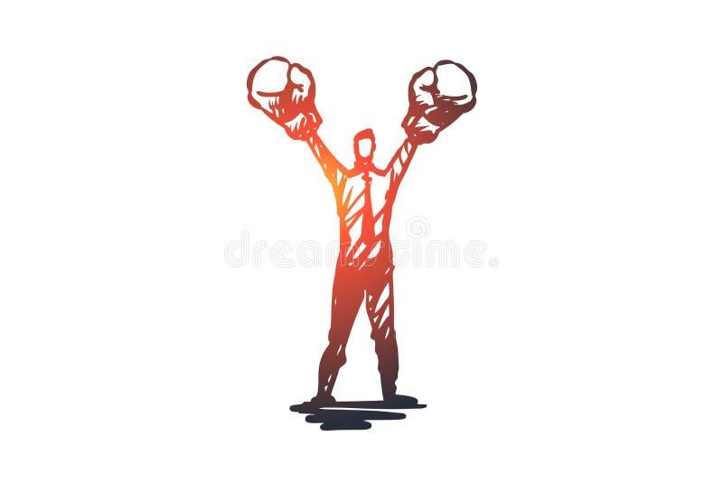 Assertiveness framgång, arbete, kompetens, motivationbegrepp Hand dragen isolerad vektor vektor illustrationer