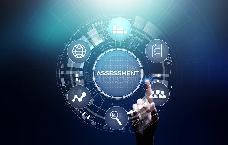 Assessment analysis Business analytics evaluation measure technology concept. royalty free stock photo