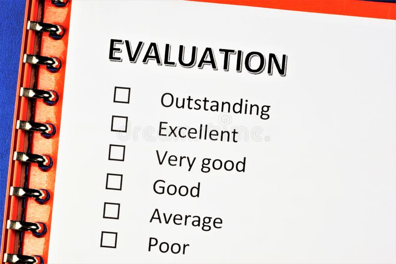 Assessment-establishing significance in ability and skills. In pedagogy analysis, the level of knowledge of the student. Qualities. Outstanding, excellent, very royalty free stock photo