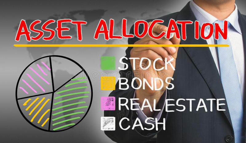 Asset allocation concept graph. Hand drawn by businessman royalty free illustration