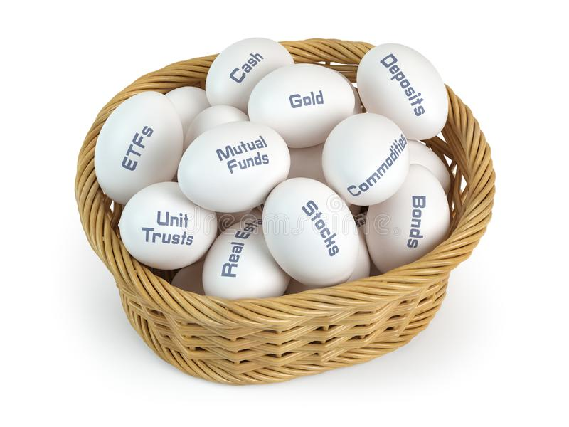 Asset allocation, investment divesifacation and put all eggs in one basket concept. Basket and eggs with different financial. Investment products. 3d royalty free illustration