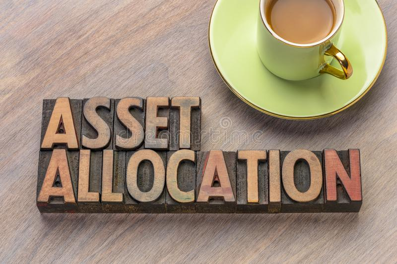 Asset allocation in letterpress wood type. Asset allocation word abstract in vintage letterpress wood type stock image