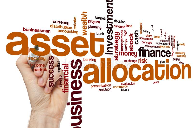 Asset allocation word cloud. Concept royalty free stock photos