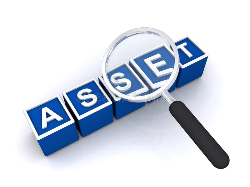Asset. Illustration of the word asset and magnifying glass, isolated on white background stock illustration