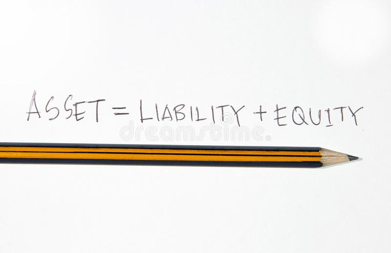 Asset. This is an image of text with pencil royalty free stock photography