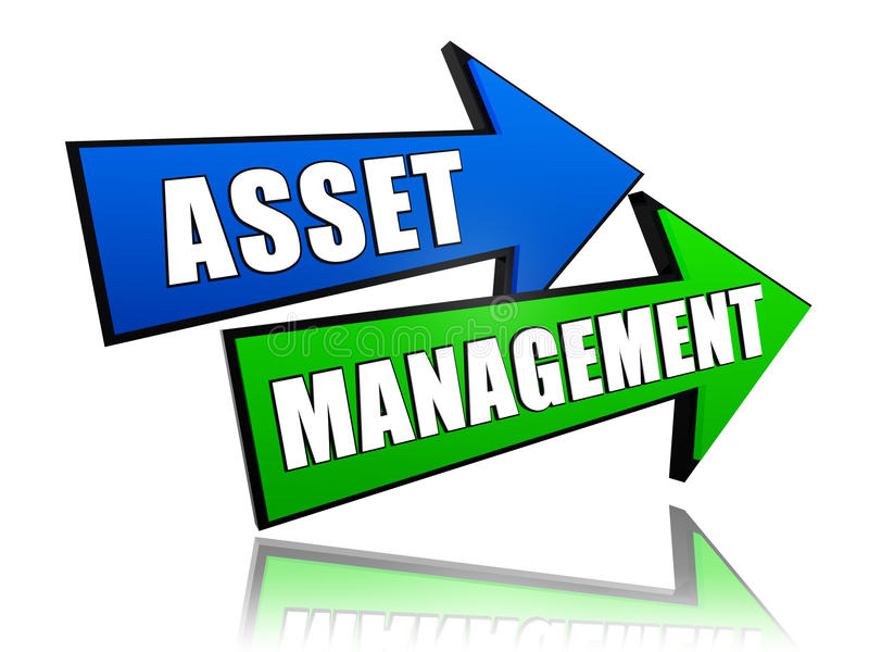 Asset management in arrows. Asset management - text in 3d arrows, business financial operation concept stock illustration