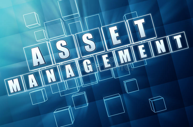 Asset management in blue glass blocks. Asset management - text in 3d blue glass cubes with white letters, business financial operation concept royalty free illustration