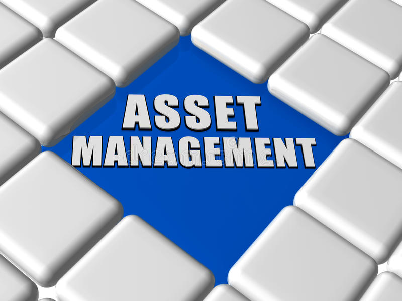 Asset management in boxes. Asset management - 3d white text over blue between grey boxes keyboard, business financial operation concept vector illustration