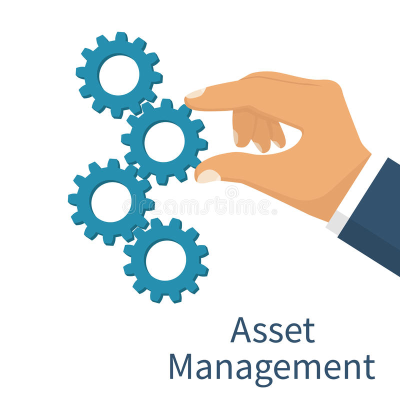 Asset management concept. Set mechanism cogwheels. Vector illustration flat design. Isolated on white background. Businessman is holding a gear in hand royalty free illustration