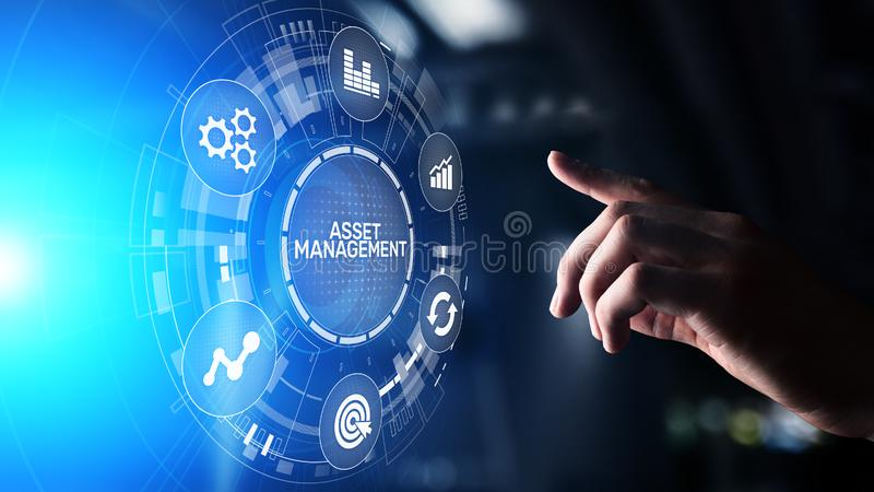 Asset management concept on virtual screen. Business Technology concept. stock photography