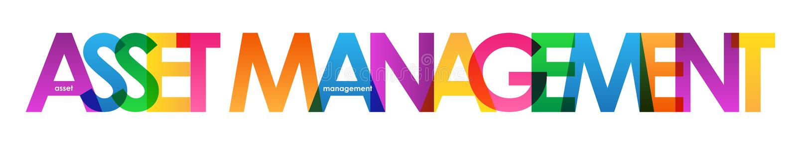 ASSET MANAGEMENT colorful overlapping letters banner. ASSET MANAGEMENT overlapping semi-transparent letters word concept banner. Rainbow palette. Vector stock illustration