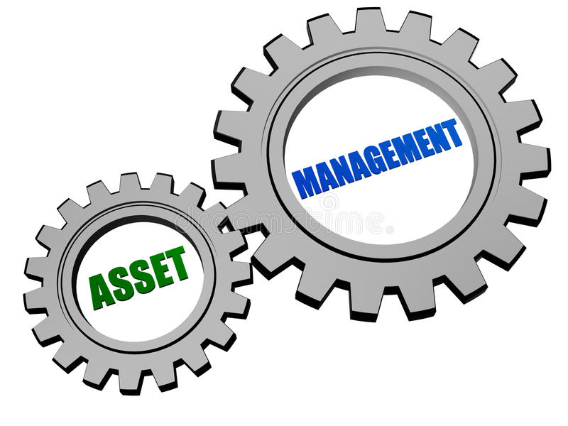 Asset management in silver grey gears. Asset management - text in 3d silver grey metal gear wheels, business financial operation concept stock illustration