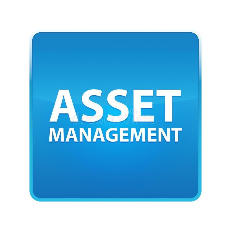 Asset Management skinande blå fyrkantig knapp vektor illustrationer