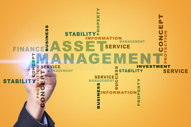 Asset management on the virtual screen. Business concept. Words cloud. stock images