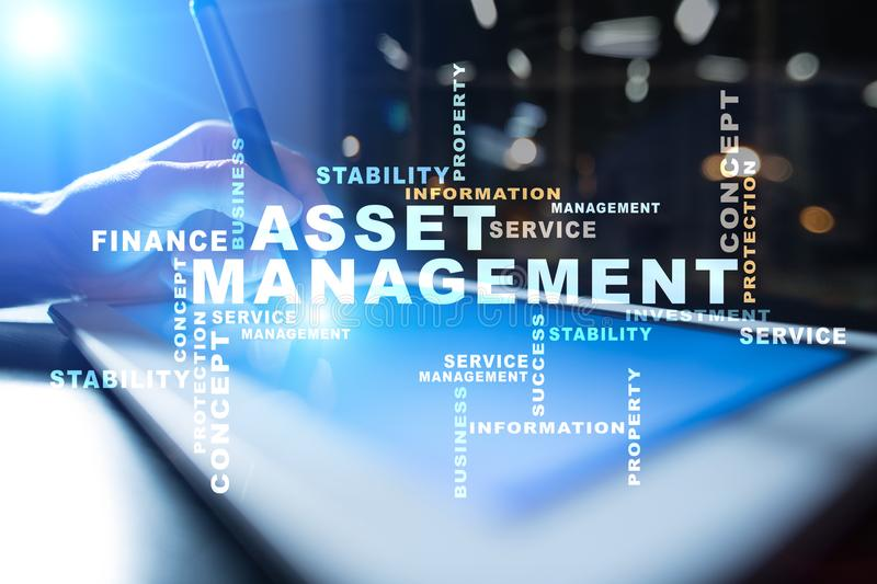 Asset management on the virtual screen. Business concept. Words cloud. Asset management on the virtual screen. Business concept. Words cloud royalty free stock images