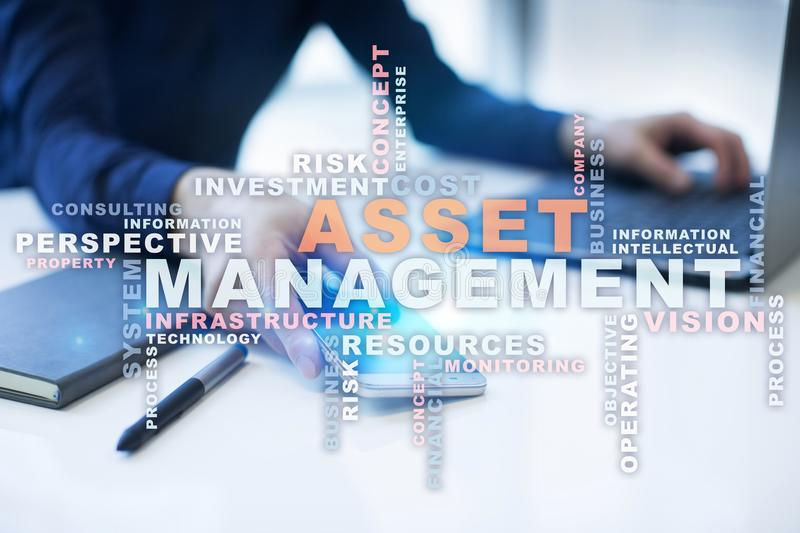 Asset management on the virtual screen. Business concept. Words cloud. Asset management on the virtual screen. Business concept. Words cloud royalty free stock photography
