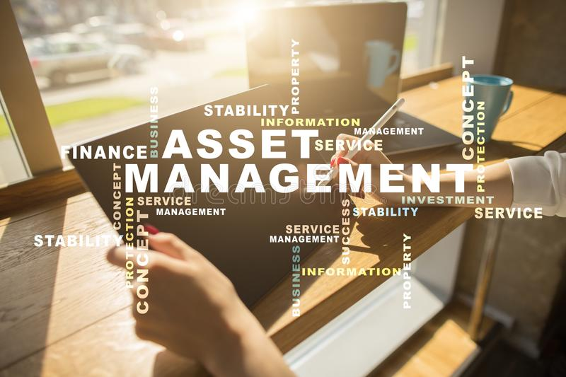 Asset management on the virtual screen. Business concept. Words cloud. Asset management on the virtual screen. Business concept. Words cloud royalty free stock image