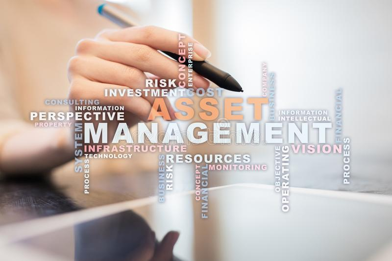 Asset management on the virtual screen. Business concept. Words cloud. Asset management on the virtual screen. Business concept. Words cloud stock photos