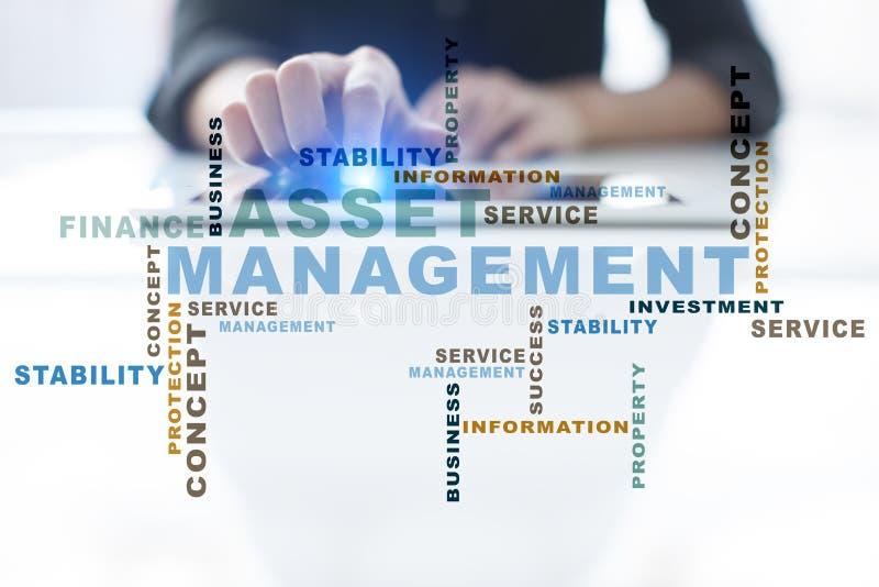 Asset management words cloud. Business technology concept stock photo