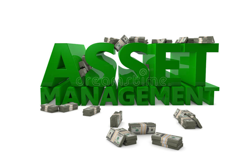 Asset Management. The words Asset Management rendered in 3D text with bundles of money vector illustration