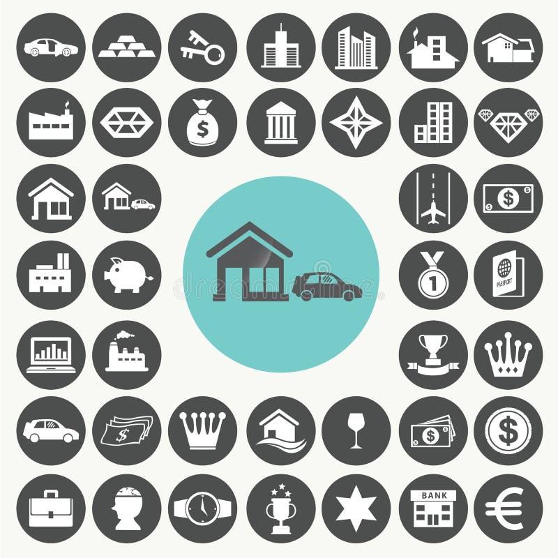 Asset and property icons set. Illustration eps10 royalty free illustration