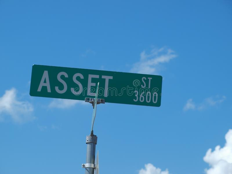Asset Street Sign. Asset Street might have a little liability in that on both ends of the street, the sign looks like it has been hit or scraped from a semi stock photos