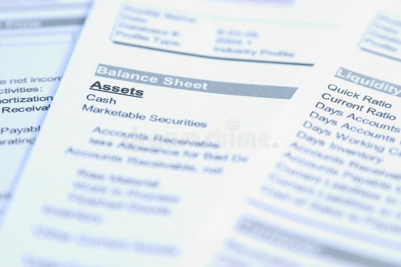 Assets. Financial documents with focus on a word Assets. Very easy to shift colours stock photography