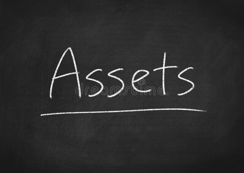 Assets. Concept word on blackboard background royalty free stock photo