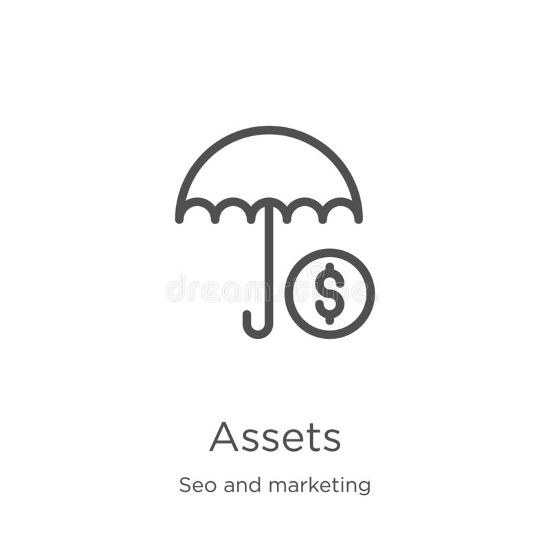Assets icon vector from seo and marketing collection. Thin line assets outline icon vector illustration. Outline, thin line assets. Assets icon. Element of seo royalty free illustration