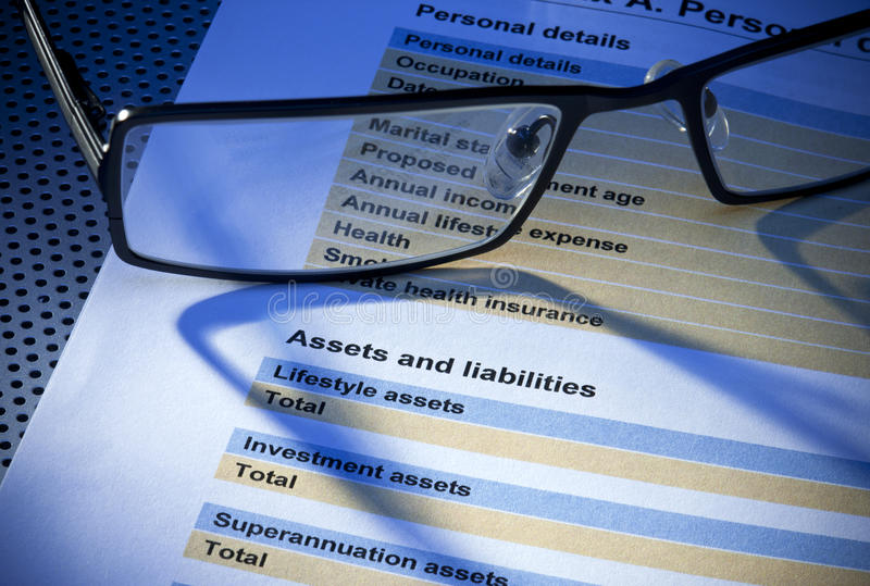 Assets Liabilities Insurance Form Royalty Free Stock Images