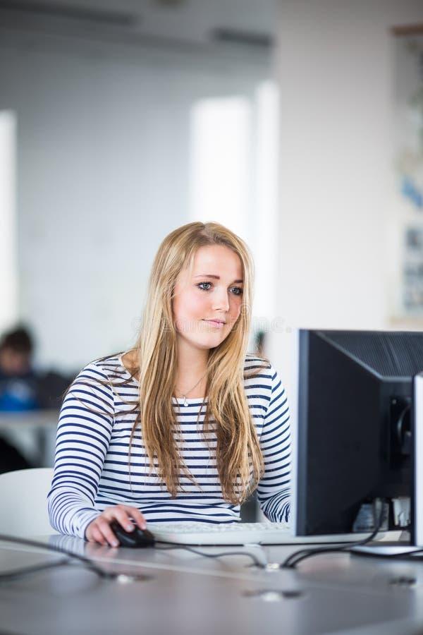 Assez, étudiante regardant un écran d'ordinateur de bureau images libres de droits