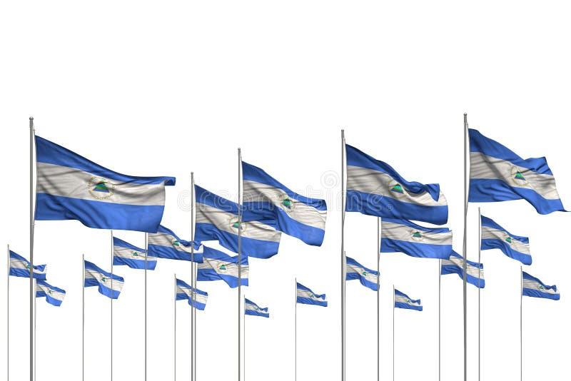 Assez beaucoup de drapeaux du Nicaragua dans une rangée d'isolement sur blanc avec l'endroit vide pour le contenu - toute illustr illustration stock