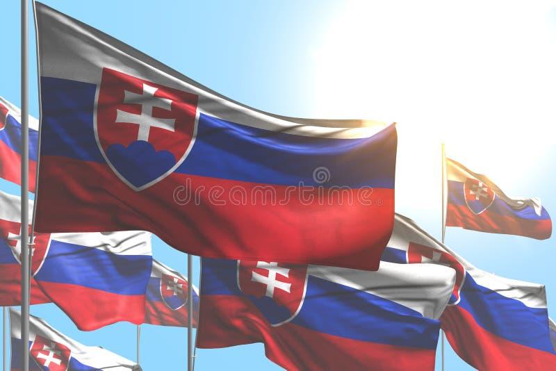 Assez beaucoup de drapeaux de la Slovaquie ondulent sur le fond de ciel bleu - n'importe quelle illustration du drapeau 3d de cél illustration libre de droits