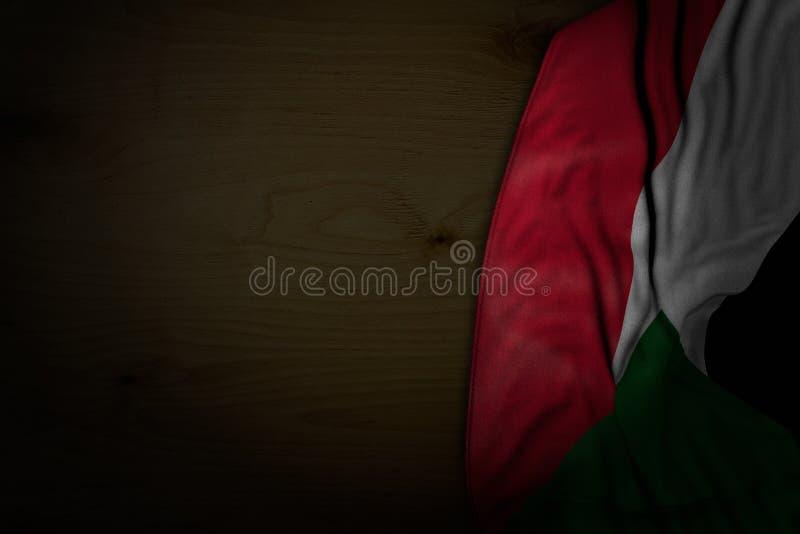 Assez toute illustration du drapeau 3d de vacances - photo foncée de drapeau du Soudan avec de grands plis sur le bois foncé avec illustration de vecteur