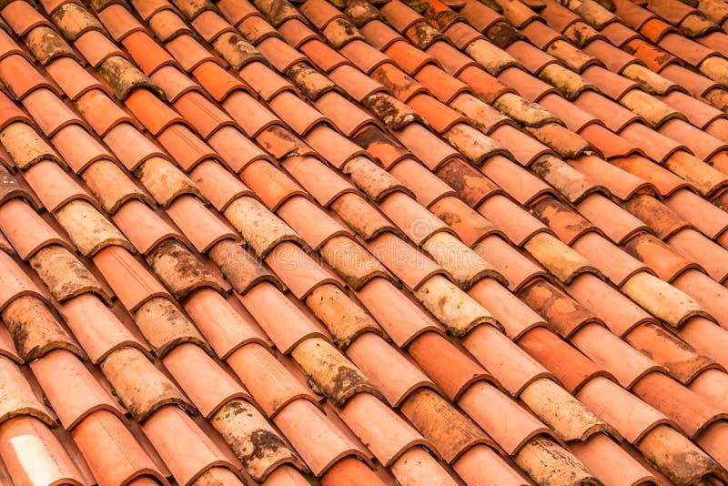 Assicelle arancio del tetto Fondo italiano, Trieste immagine stock