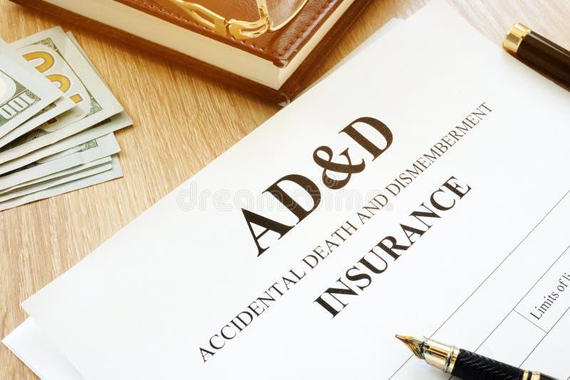 Assicurazione del ad&d del beneficio e di smembramento di morte accidentale fotografia stock libera da diritti