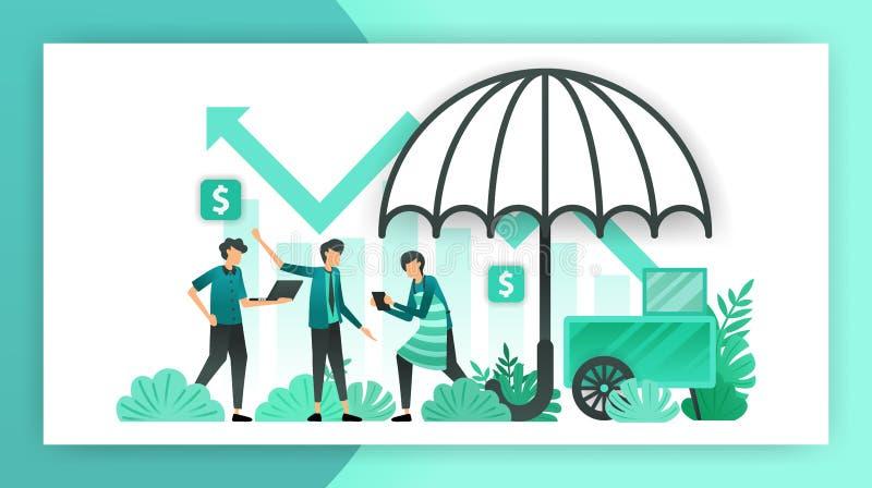 Assicurazione di piccola impresa polizze d'assicurazione che aiutano e garantiscono i commerci della PMI, i proprietari e gli inv royalty illustrazione gratis