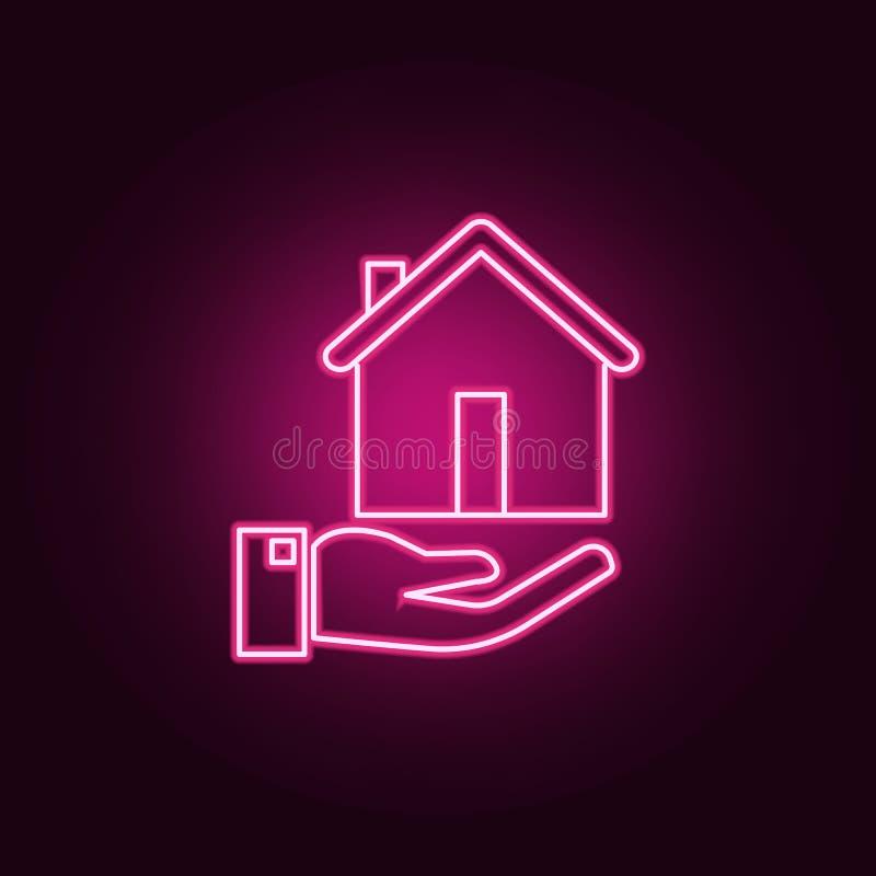Assicurazione di propriet? icona al neon del bene immobile Elementi dell'insieme di Real Estate E illustrazione vettoriale