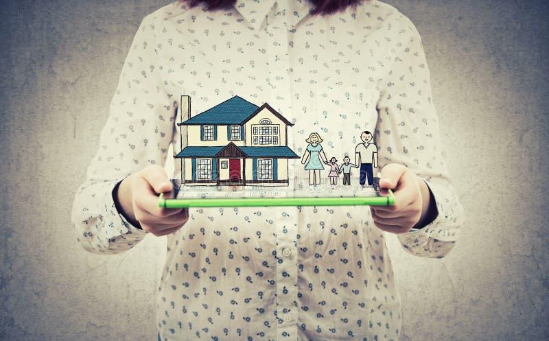 Assicurazione domestica della famiglia fotografia stock