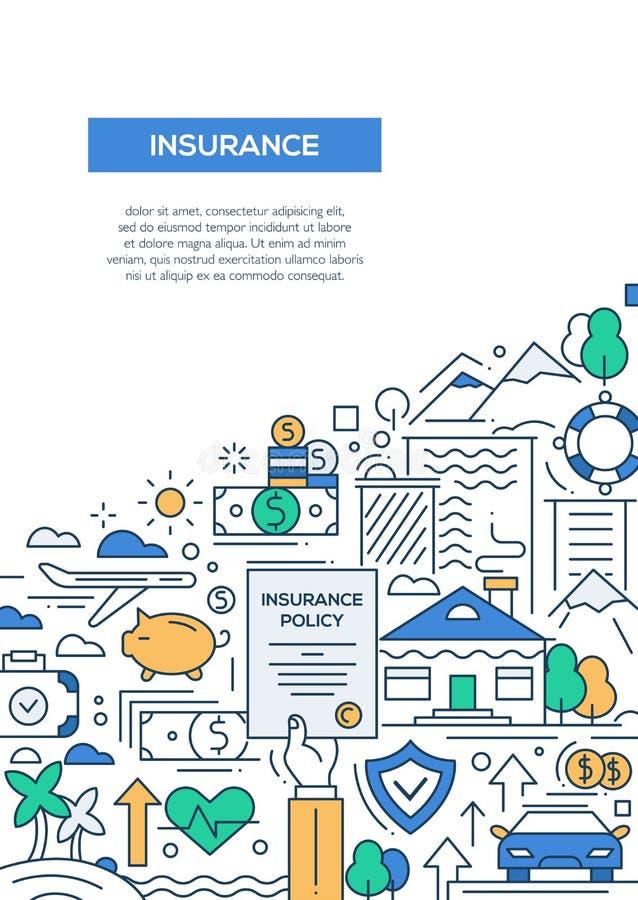 Assicurazione - linea modello A4 del manifesto dell'opuscolo di progettazione