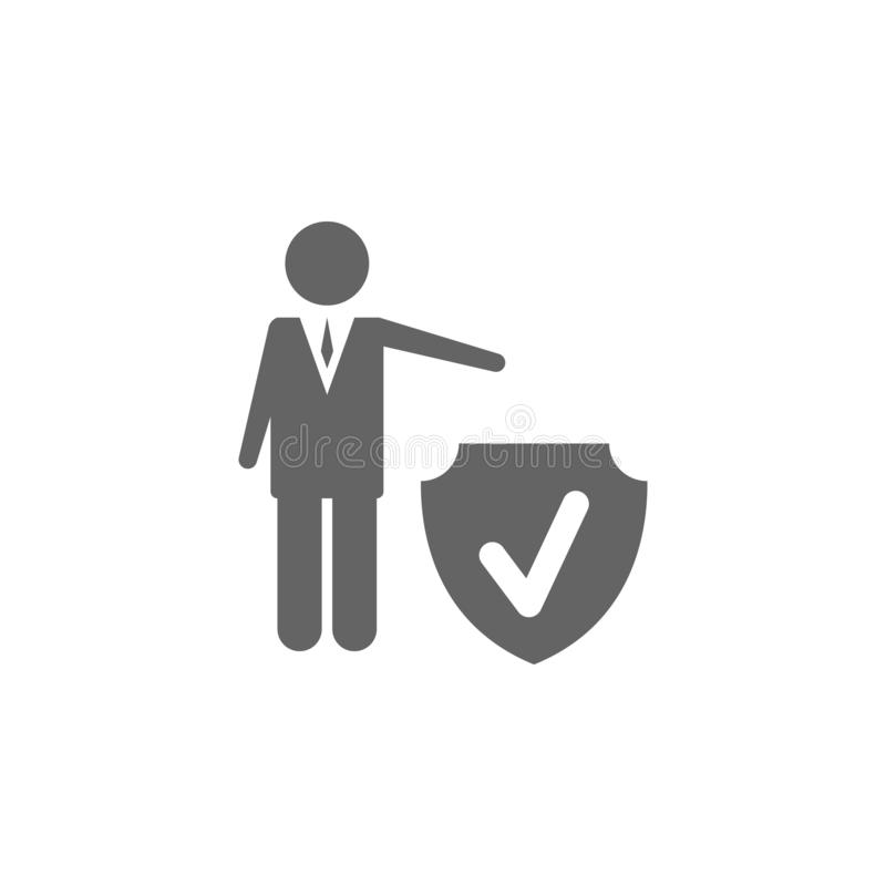Assicurazione, occupazione, lavoro, icona di protezione Icona elemento assicurazione Icona di progettazione grafica di qualità Pr illustrazione vettoriale