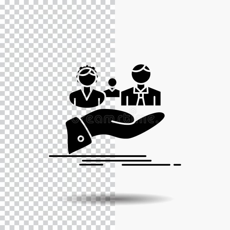 assicurazione, salute, famiglia, vita, icona di glifo della mano su fondo trasparente Icona nera royalty illustrazione gratis
