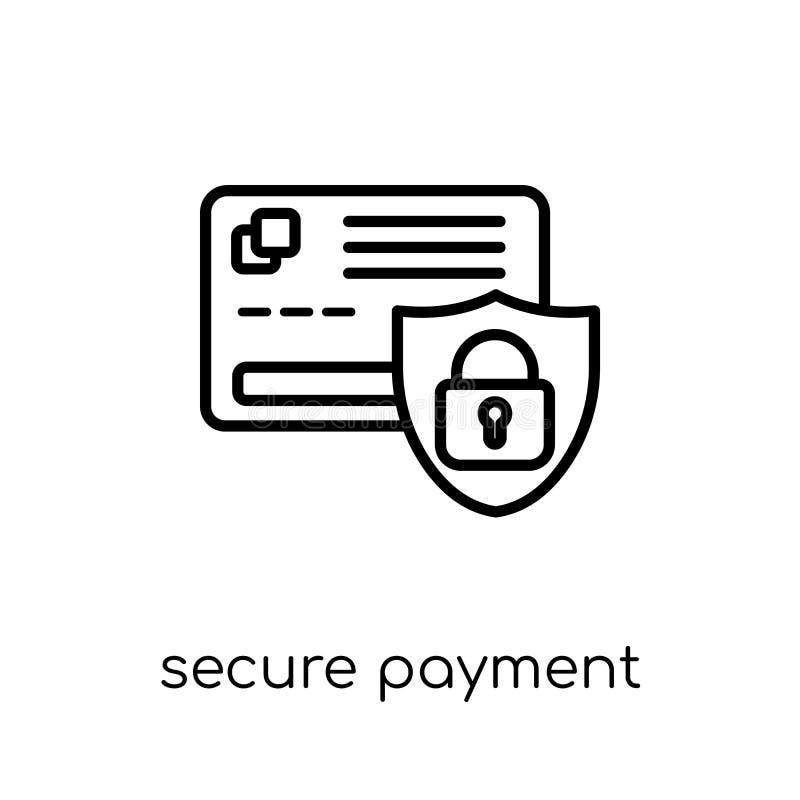 Assicuri l'icona di pagamento Paga sicura di vettore lineare piano moderno d'avanguardia royalty illustrazione gratis