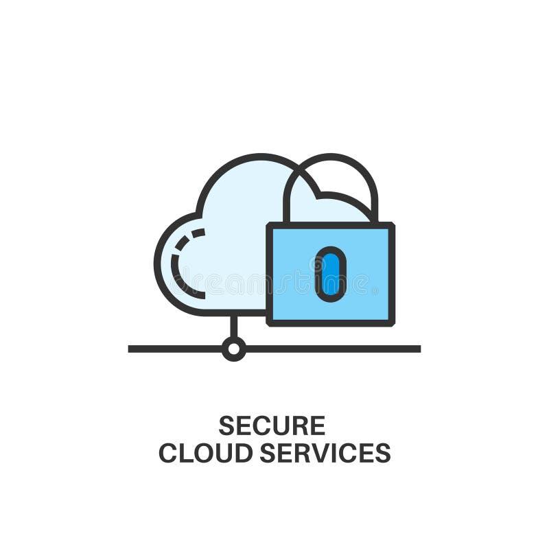Assicuri l'icona di servizi della nuvola illustrazione di stock