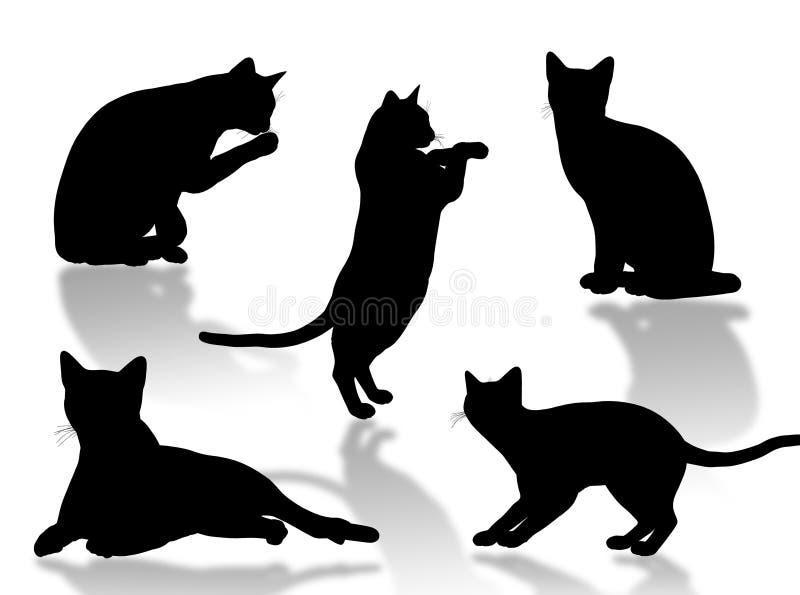 Assiettes de chat illustration libre de droits