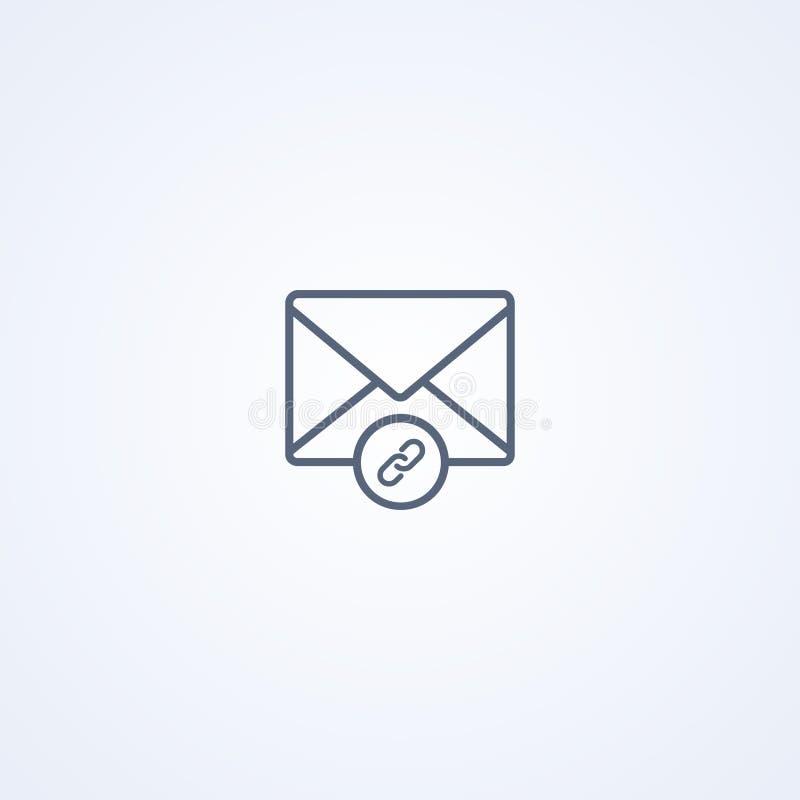 Assignez l'email, la meilleure ligne grise icône de vecteur illustration stock
