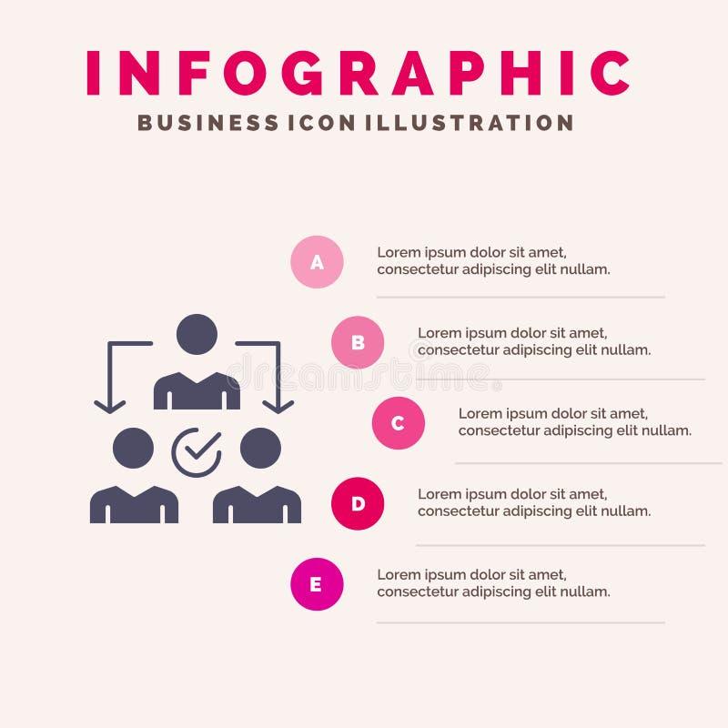 Assignment, Delegate, Delegating, Distribution Solid Icon Infographics 5 Steps Presentation Background royalty free illustration
