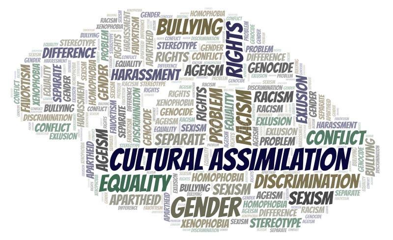 Assimilação cultural - tipo de discriminação - nuvem da palavra ilustração stock
