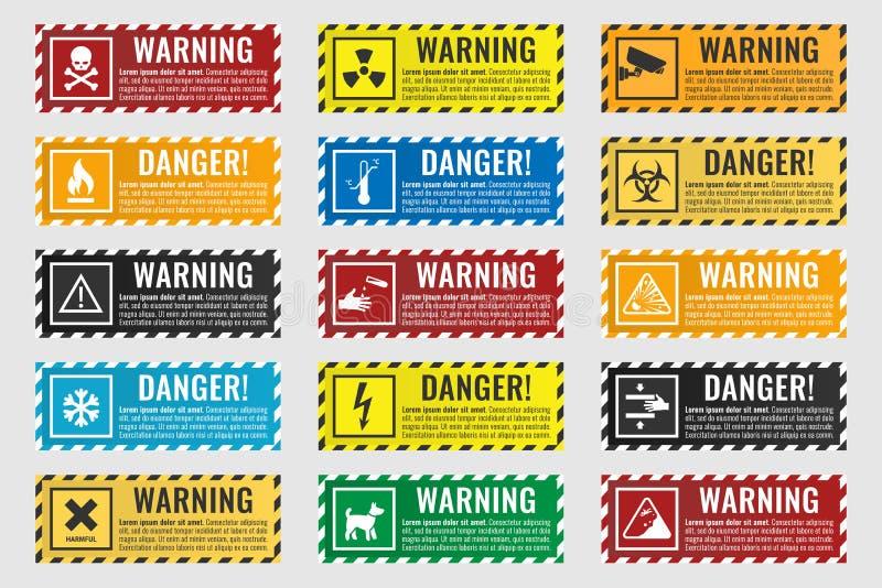Assina o aviso do perigo - fogo, alta tensão, tóxico, temperatura ilustração royalty free