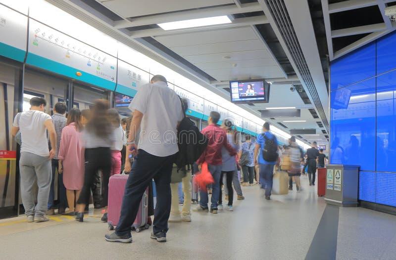 Assinantes Guangzhou China do metro do metro fotografia de stock